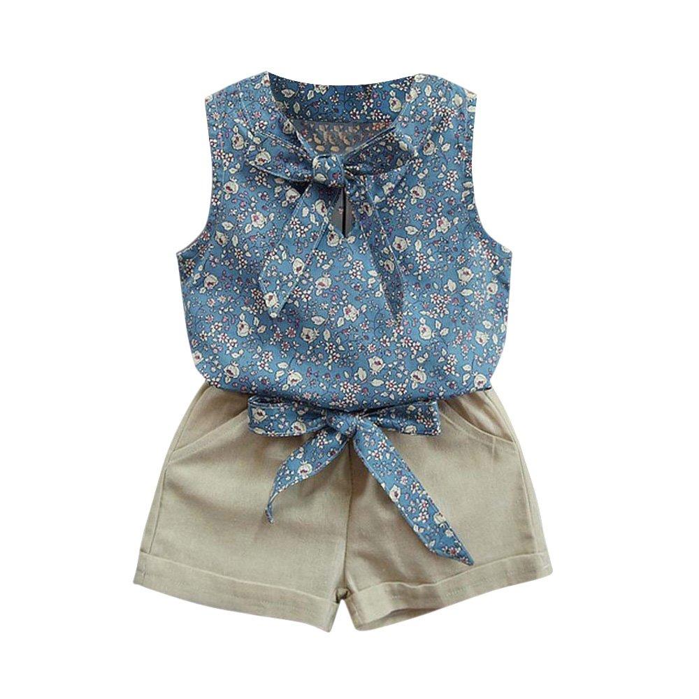 Lankey Valentines Little Girl Clothes Set Floral Printing Vest + Pure Color Pants 2 Pcs