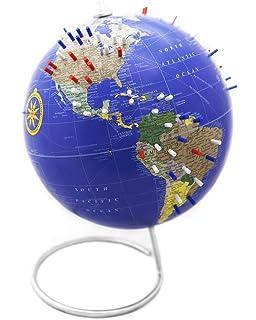 Amazon academia maps push pin globe mark your travels 9 bullseye office classic blue magnetic world globe 10 antique world desk globe with gumiabroncs Images