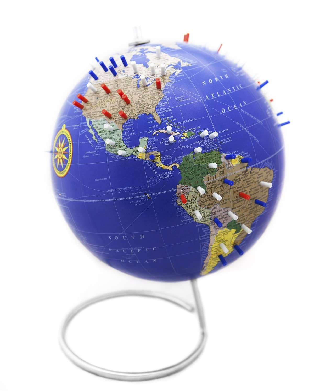 Bullseye Office Classic Blue Magnetic World Globe. - 10'' Antique World Desk Globe with a stand with magnetic pins perfect gift for a world Traveler!