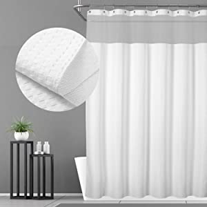 N&Y HOME Hotel Waffle Weave Shower Curtain - Mesh Window Top, SPA Feeling, Water Resistant & Machine Washable - White, 71x72