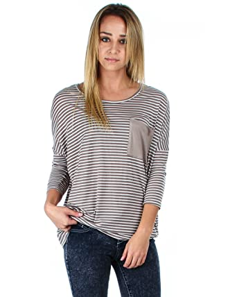 19150a186f9ae Lyss Loo Striped Dolman Sleeve Top With Pocket at Amazon Women s ...