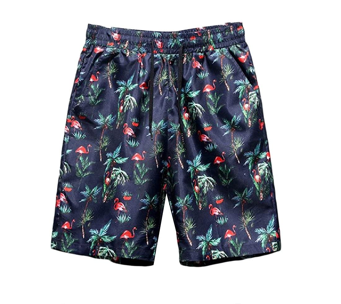 YUNY Men Thin Plus Size Stylish Summer Casual Printed Jogging Board Shorts 7 L