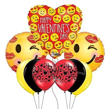 Amazon Com Happy Valentine S Day Emoji Themed Party Balloon Bouquet