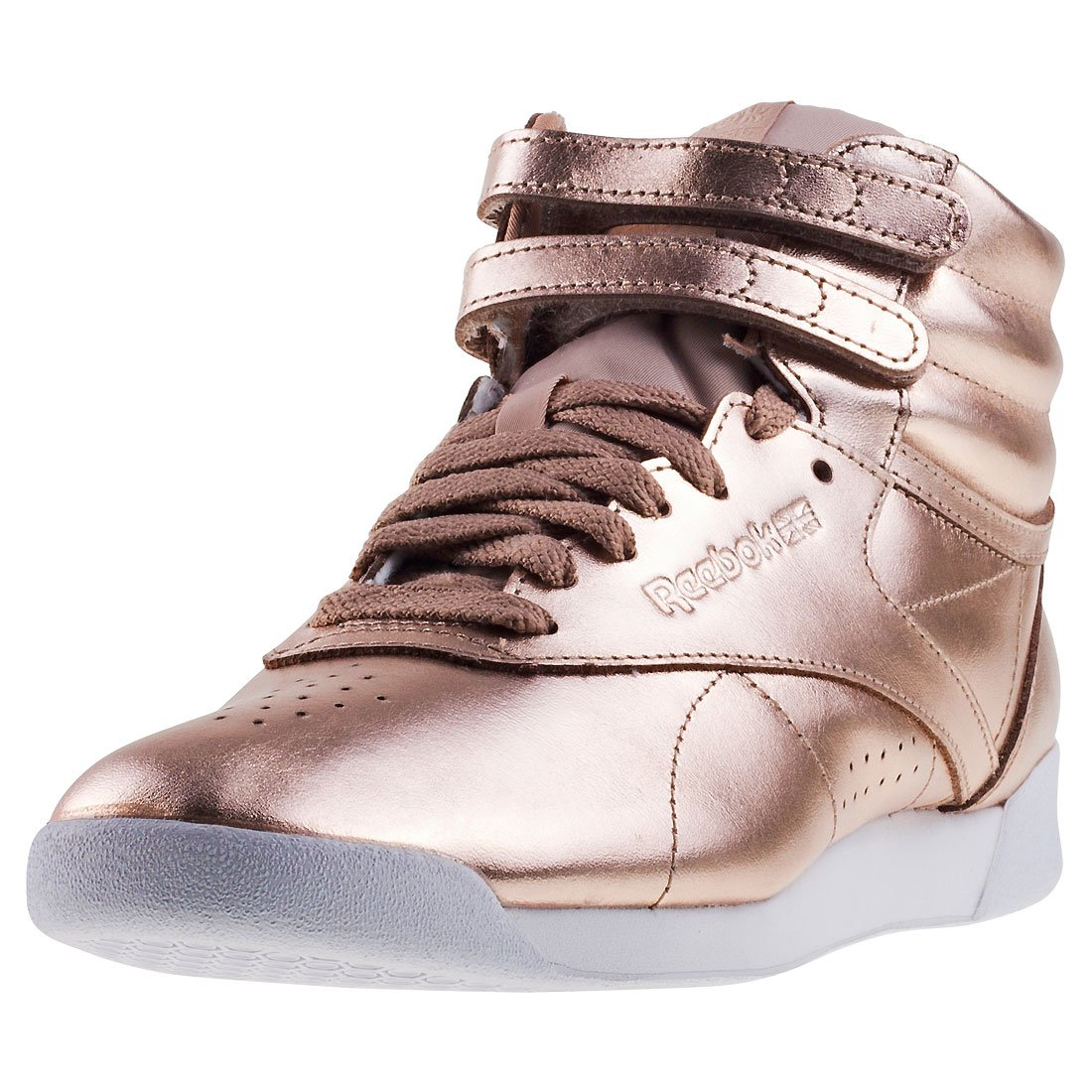 Reebok Freestyle Hi Metallic Womens Trainers Rose Gold - 6 UK