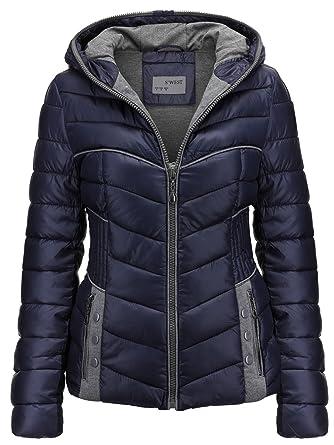 Damen STEPP Jacke Winter ÜBERGANGSJACKE Herbstjacke KURZ Kapuze Skijacke,  Farbe Dunkelblau, Größe  d57a7121d2