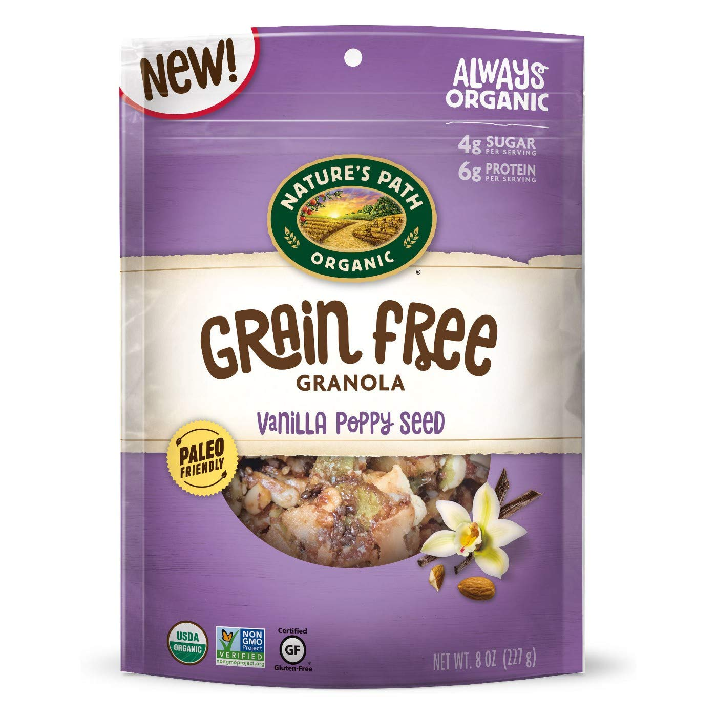 Nature's Path Grain Free Vanilla Poppy Seed Granola 8oz, pack of 1