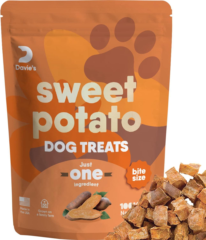 Davie's Sweet Potato Dog Training Treats - Bite Size Dog Treats for Small or Large Dogs, Vegan Dog Training Treats, Made in The USA, Grain Free, Vegetarian Alternative to Rawhide Chews