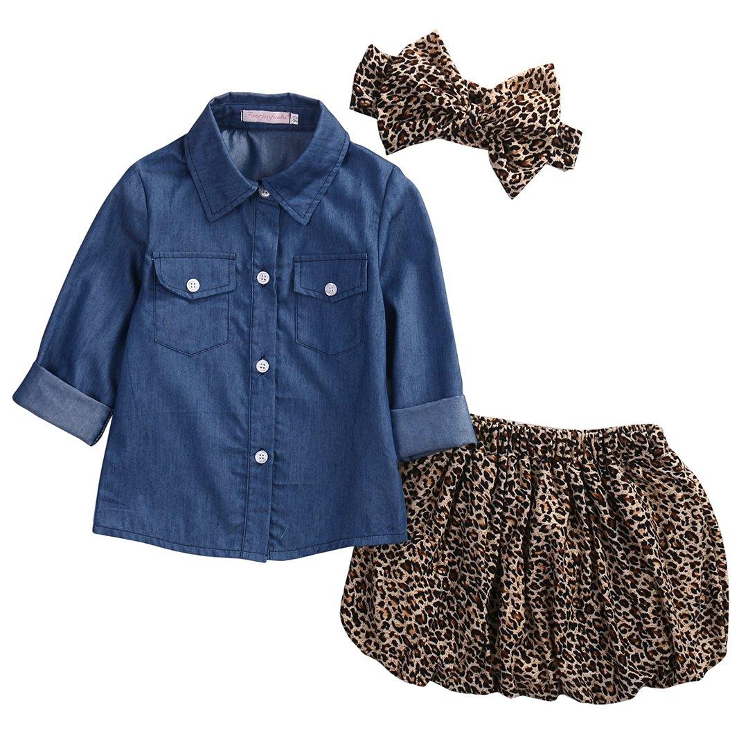 Infant Baby Girl Denim Tops Shirt +Leopard Short Skirt+ Headband Outfits Set
