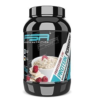 Porridge proteico, Gachas de avena con proteína en polvo de suero de leche con fruta y sin soja de la marca de deporte profesional alemana FSA ...