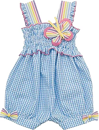 fe4bdb319 Amazon.com: Rare Editions Baby Girls 3M-24M Turquoise Blue White Check  Plaid Seersucker Romper (24 Months, Turquoise): Clothing