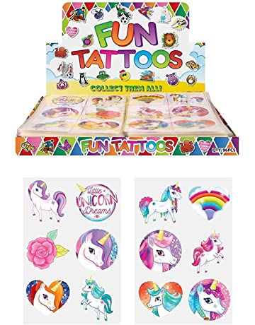 d2bbbf9690 HENBRANDT 24 x Girls Unicorn Temporary Tattoos Children s Birthday Party  Bag Filler