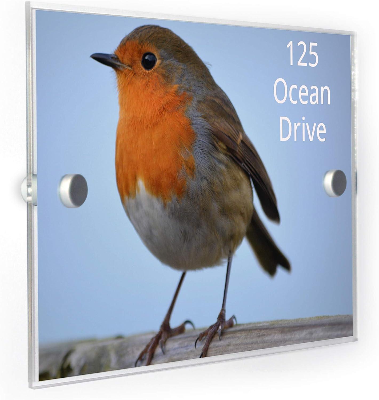 Robin Bird House Number Plaque Home Address Sign