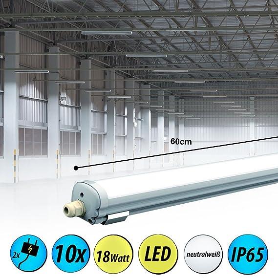 10er Set LED Wannen Decken Leuchten Röhren Werkstatt Feucht Raum Wannen Lampen