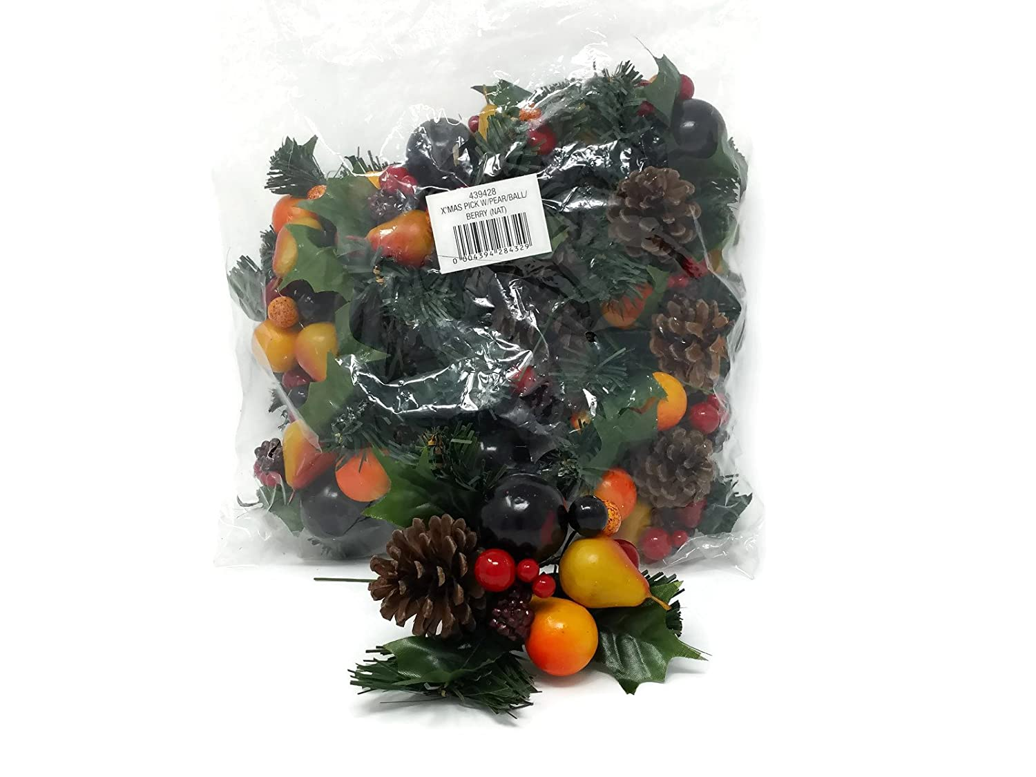 12 x Christmas Pear & Berry Artificial Fruit Pick Decoration x 18cm Burke