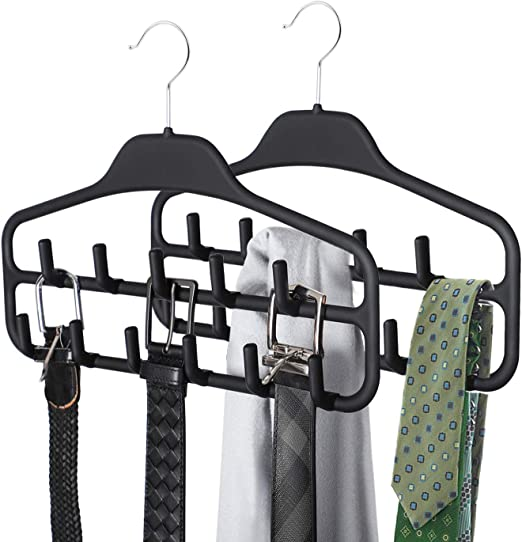 Tie Belt Scarf Rack Closet Organizer Plastic Non Slip Holder Adjustable Hang 24