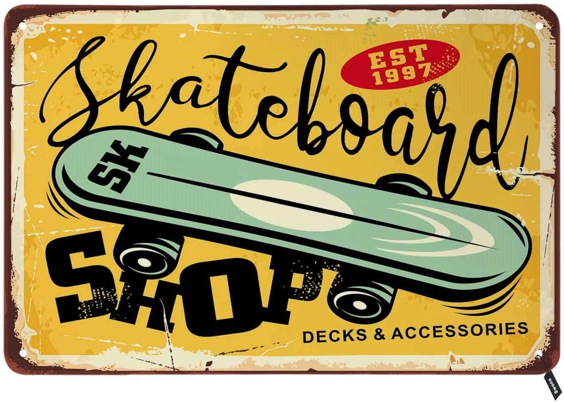 Swono Skateboarding Tin Signs,Comic Style with Green Skate Board on Old Yellow Background Vintage Metal Tin Sign for Men Women,Wall Decor for Bars,Restaurants,Cafes Pubs,12x8 Inch