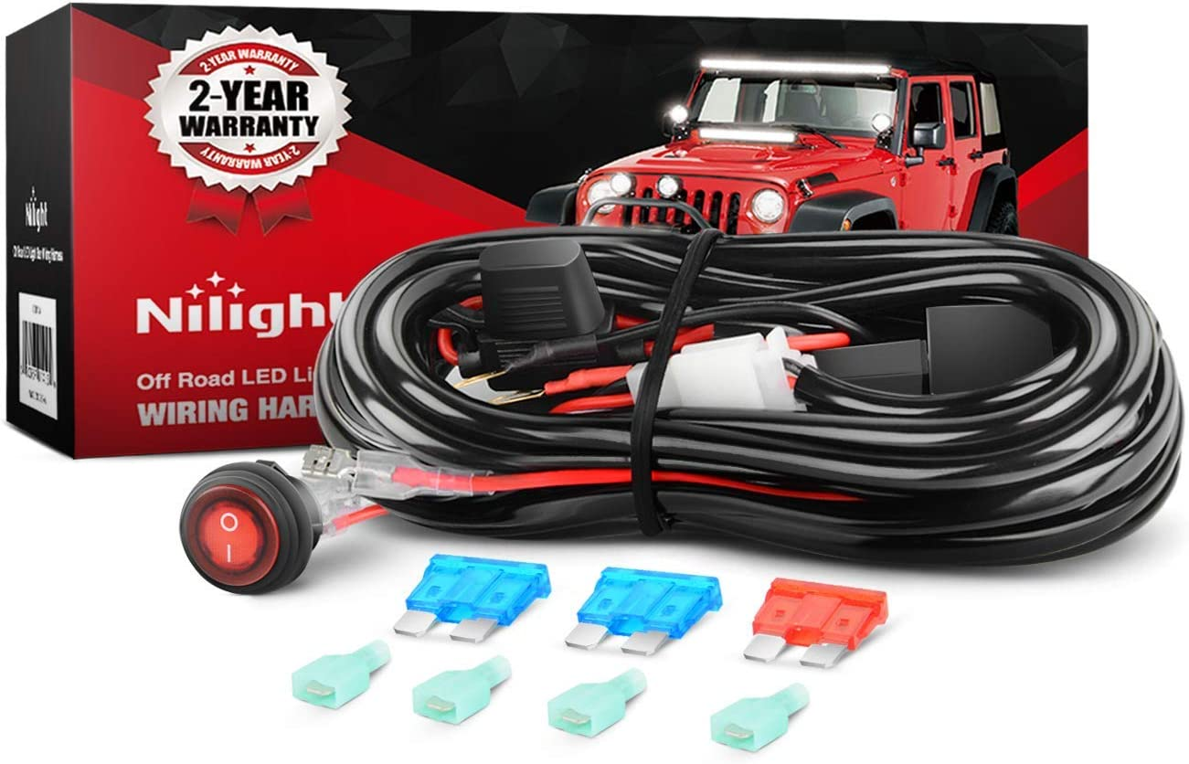 Amazon.com: Nilight LED Light Bar Wiring Harness Kit 12V On Off Switch  Power Relay Blade Fuse for Off Road Lights LED Work Light,2 years Warranty:  AutomotiveAmazon.com