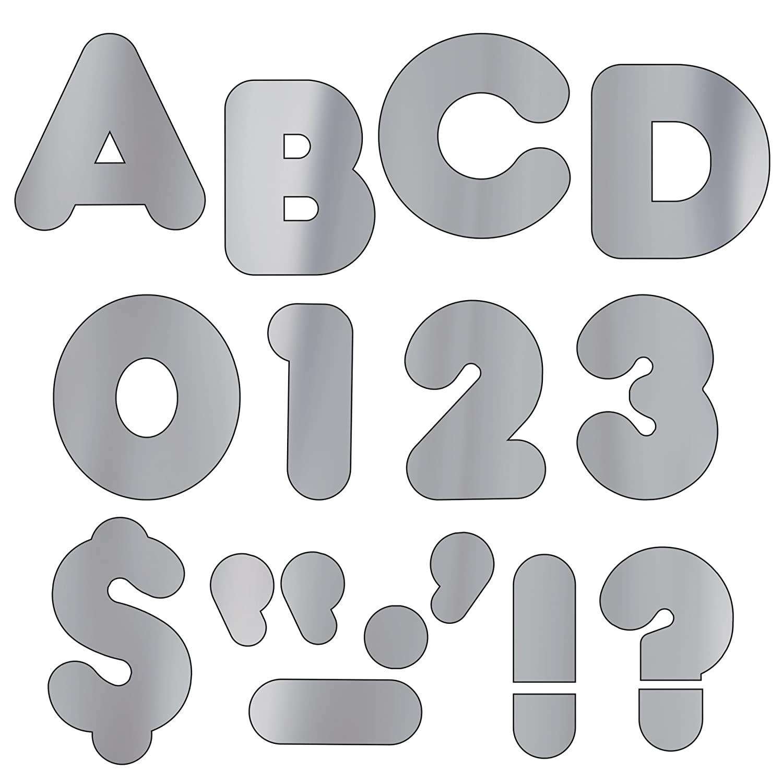 72 per Package 4 Trend Enterprises Casual Ready Letters T-480 Metallic Silver