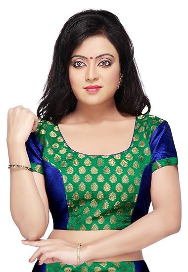 43b20bfc3d98ef Utsav Fashion Chanderi Silk Brocade Blouse in Green at Amazon ...