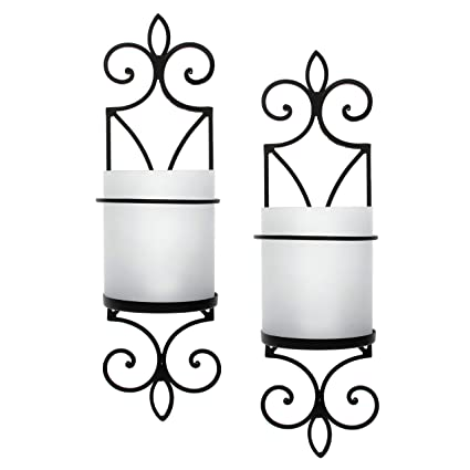 Amazon Com Hosley Set Of 2 Wall Pillar Holder Wfrosted Glass