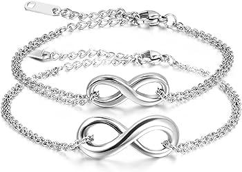 66d2badbe265 JewelryWe Pulseras de Parejas Pulsera de Infinito Infinity Acero Inoxidable  de Color Plata