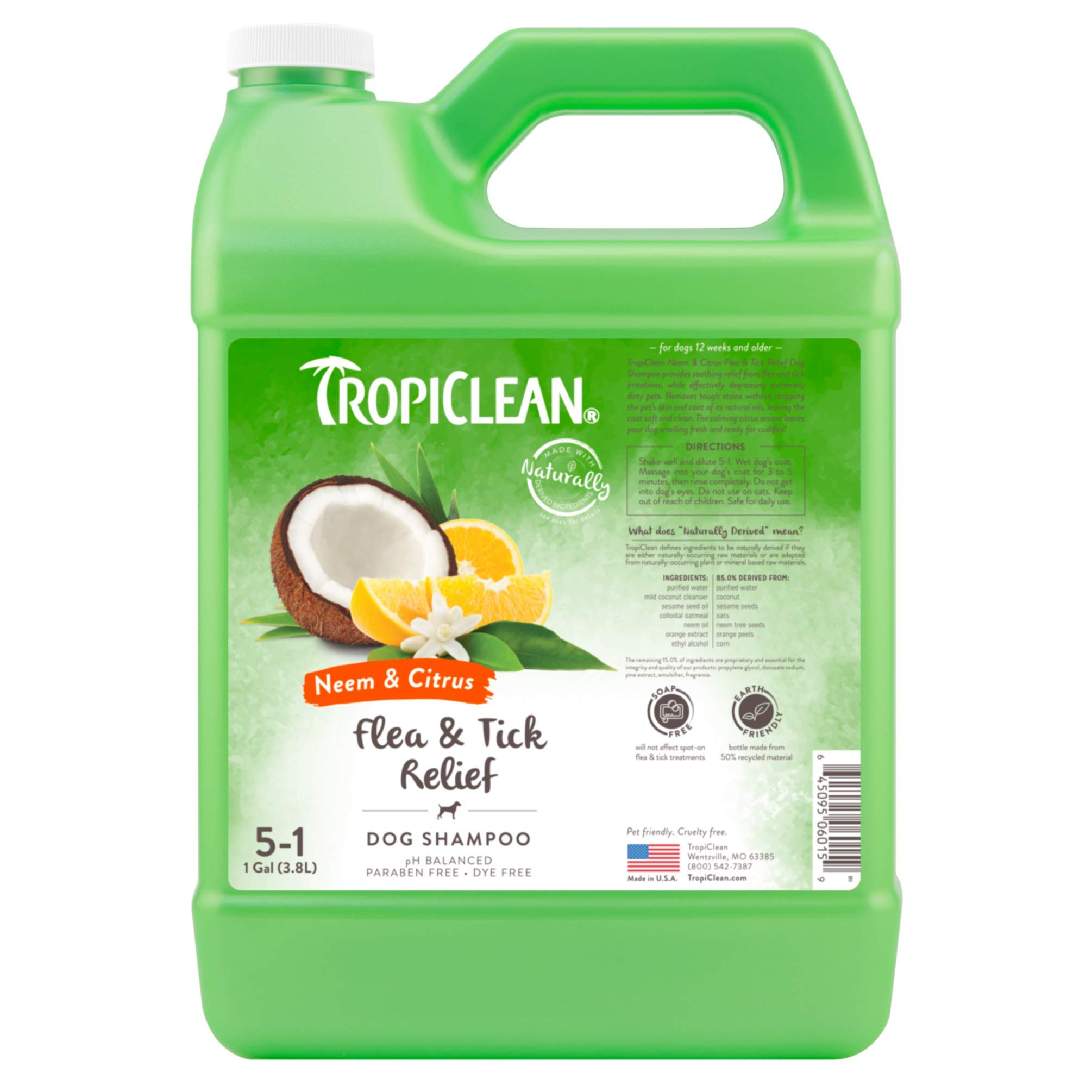 TropiClean Neem & Citrus Flea & Tick Dog Shampoo, 1 Gallon by TropiClean