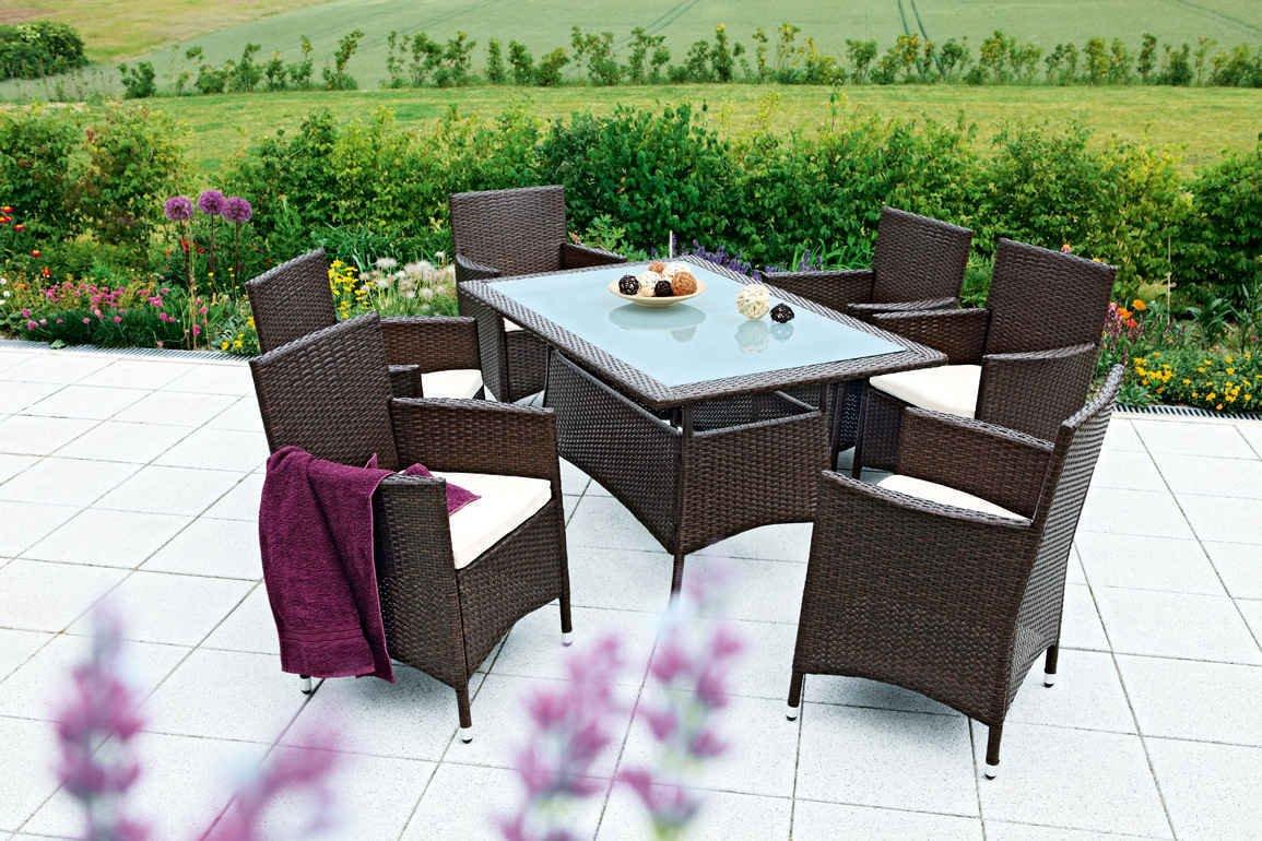 merxx gartenm bel set la spezia 13 tgl zerlegbar inkl kissen sessel und tisch 140x90 cm. Black Bedroom Furniture Sets. Home Design Ideas