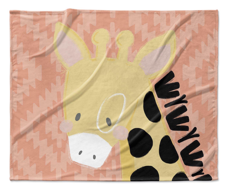Orange//Pink//Black JLJAVC039VPM Size: 50x60x1 - KAVKA Designs Giraffe Fleece Blanket, -