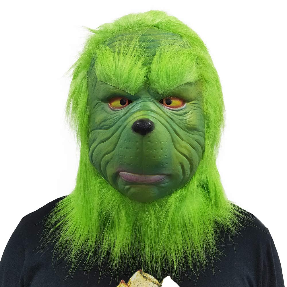 CHENLIN Grinch Deluxe Mask Grinch Costume Suit for Christmas with Green Hair