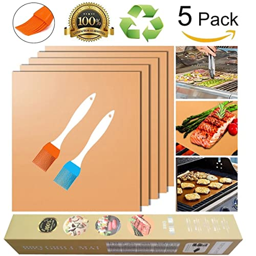 Copper Grill Mat and Bake Mat Set of 5 Non Stick BBQ Grill & Baking Mats