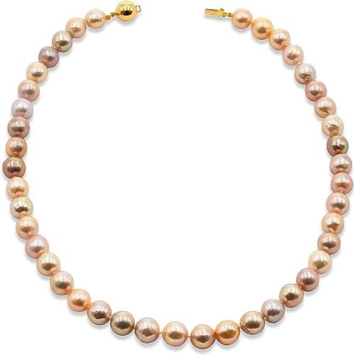 Secret & You Collar de Perlas de Mujer Cultivadas de Agua Dulce Semi-Barrocas Multiculor Natural de 45 cm de Largo Perlas Semi-Barrocas de 9-10 mm con Brillo Metálico y Nudo Entre Cada Perla.