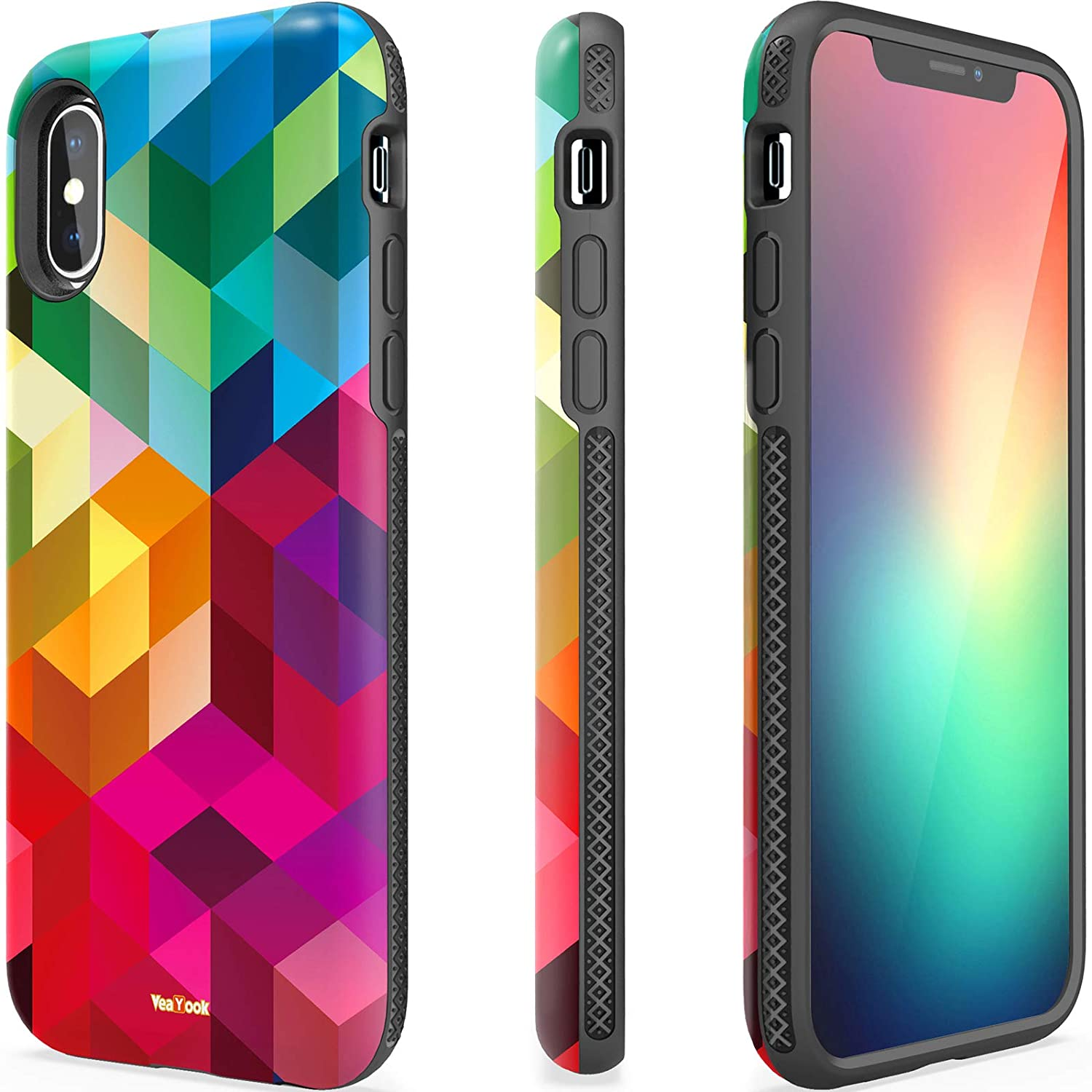 VeaYook for iPhone X iPhone Xs Women Slim Dual Layer Silicone Rubber Hybrid Durable Shockproof Bumper Protective Anti-Scratch Impact Resistant Cover with Ring Kickstand (Glitter Mandala Floral)