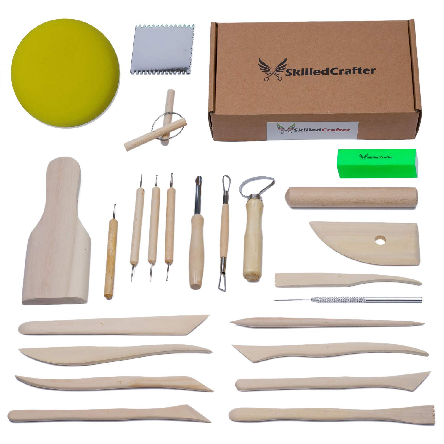 Skilled Crafter Clay Tools Set. Premium Quality Detailing, Modeling, Sculpting & Pottery Wheel Tools. 22 Piece Wood/Metal Kit. FREE Sponge! Deluxe Set Best for Potters/Artists of Ceramic, Sculpey etc 4336843718