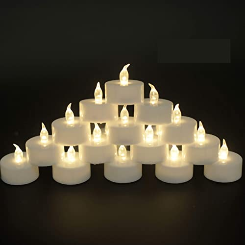 JUNPEI Battery Operated Powered Tea Lights Realistic Tea Lights Flickering Candles Gift Suitable