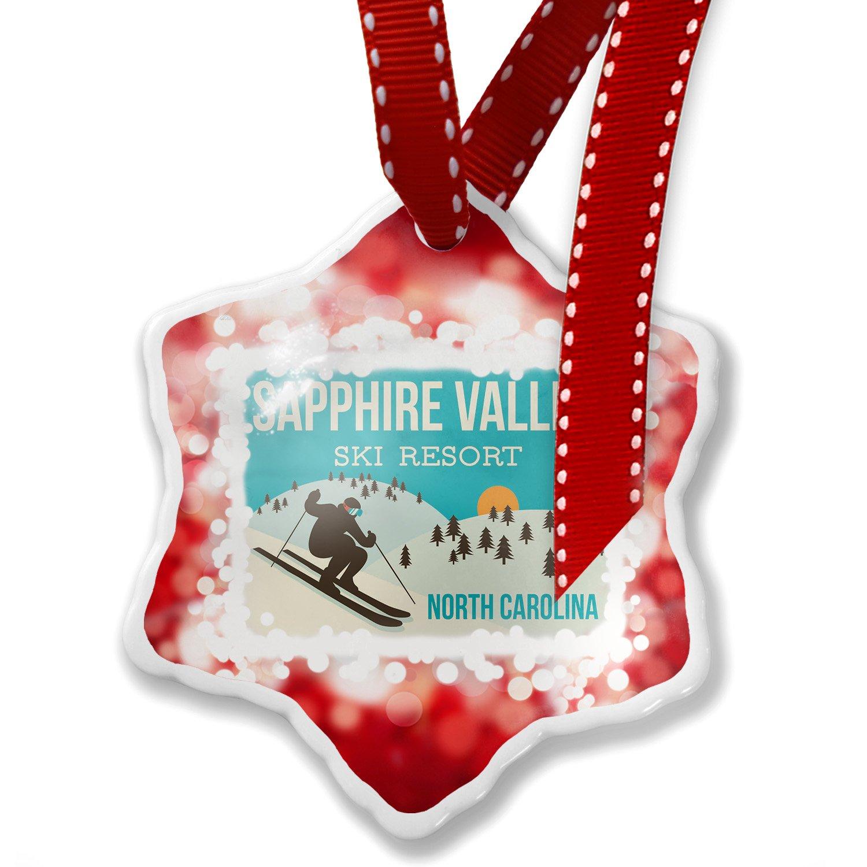 Christmas Ornament Sapphire Valley Ski Resort - North Carolina Ski Resort, red - Neonblond