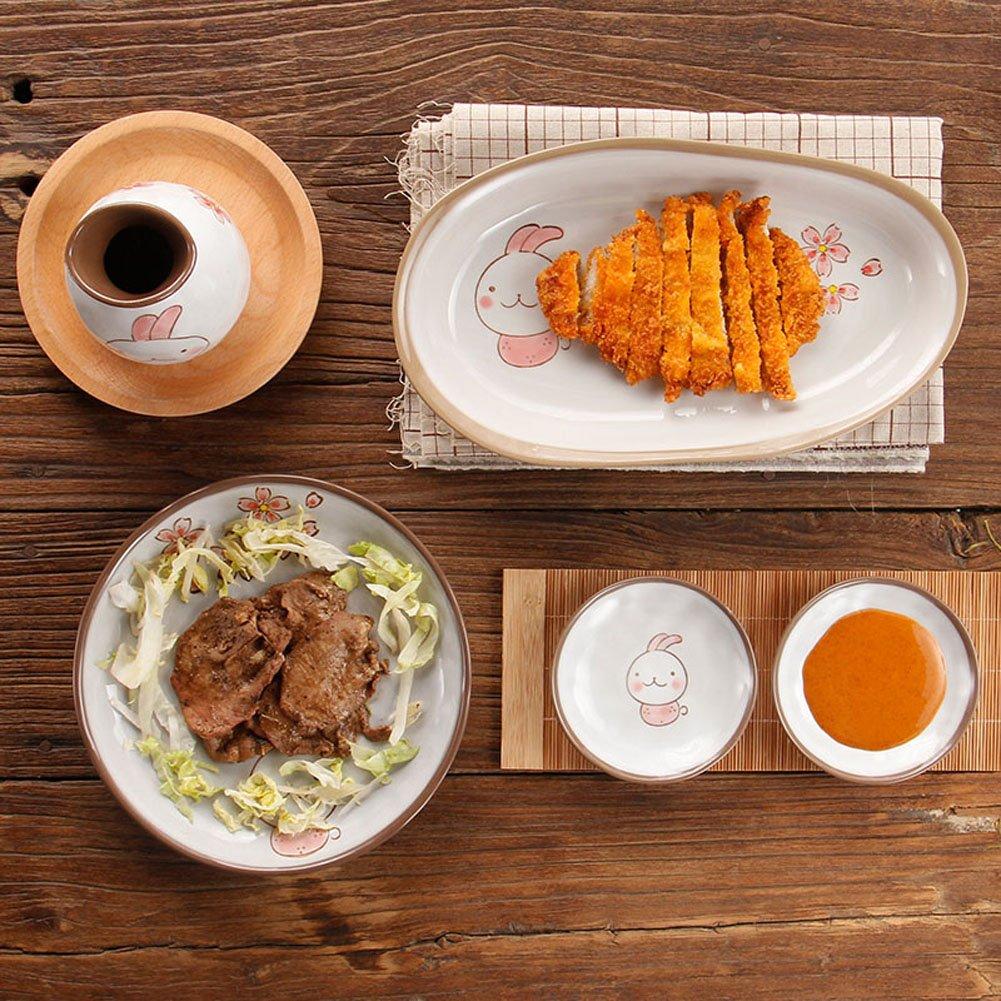 Cute japonés estilo carcasa Sakura conejo de cerámica plato para carne plato Rectangular plato para aperitivos plato Salsa Sushi cuencos para salsas: ...