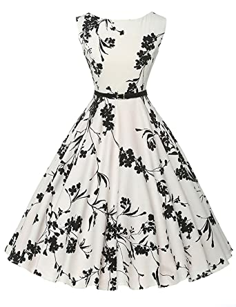 Lananas 2018 Women Summer Dresses O-Neck Sleeveless Vintage Elegant Black Flower Printed White Dress with Belt at Amazon Womens Clothing store:
