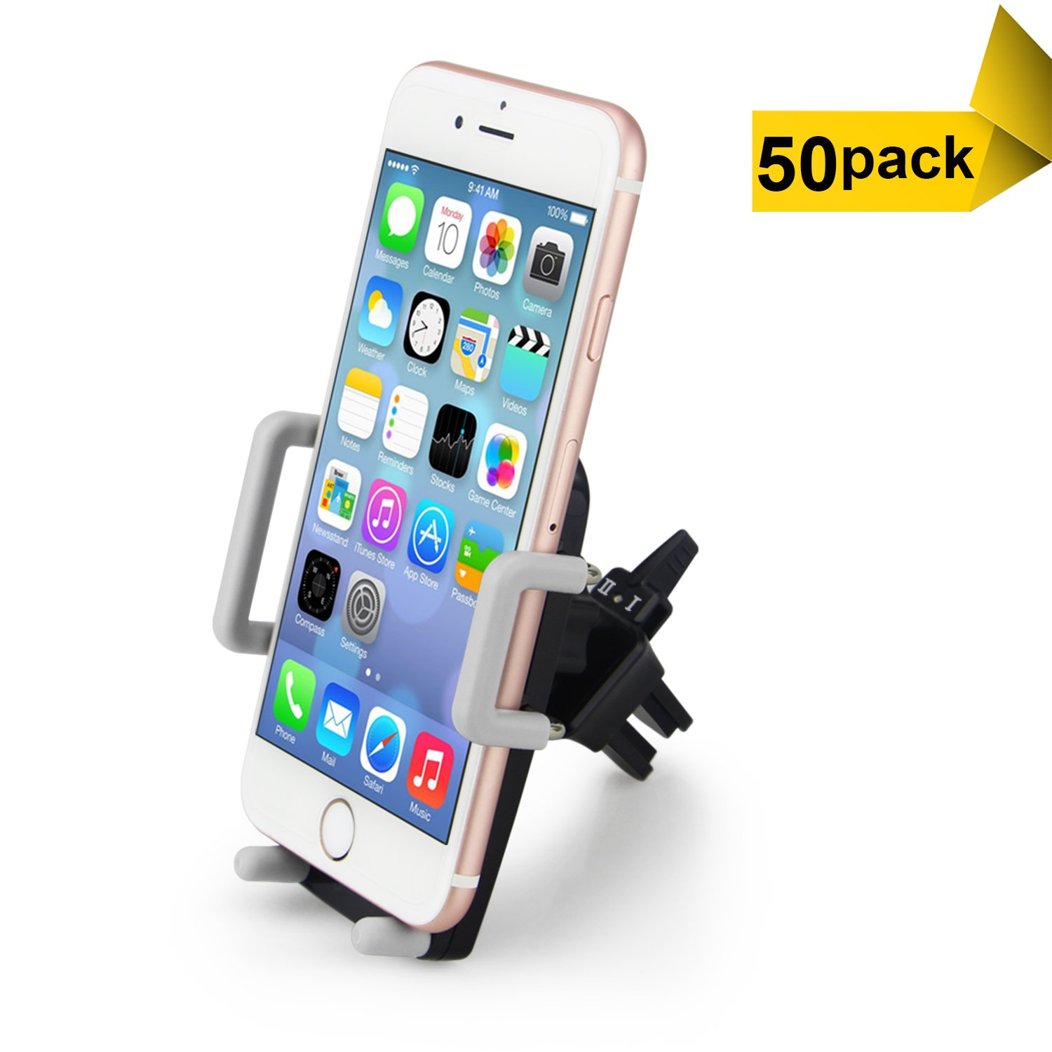 Car Phone Holder, ilikable 50 Pack Universal Air Vent Car Phone Mount Cradle with 360 Degree Rotation for iPhone 7 6 SE 5C 5S Android Samsung Galaxy LG HTC Smartphone GPS and More (Black)