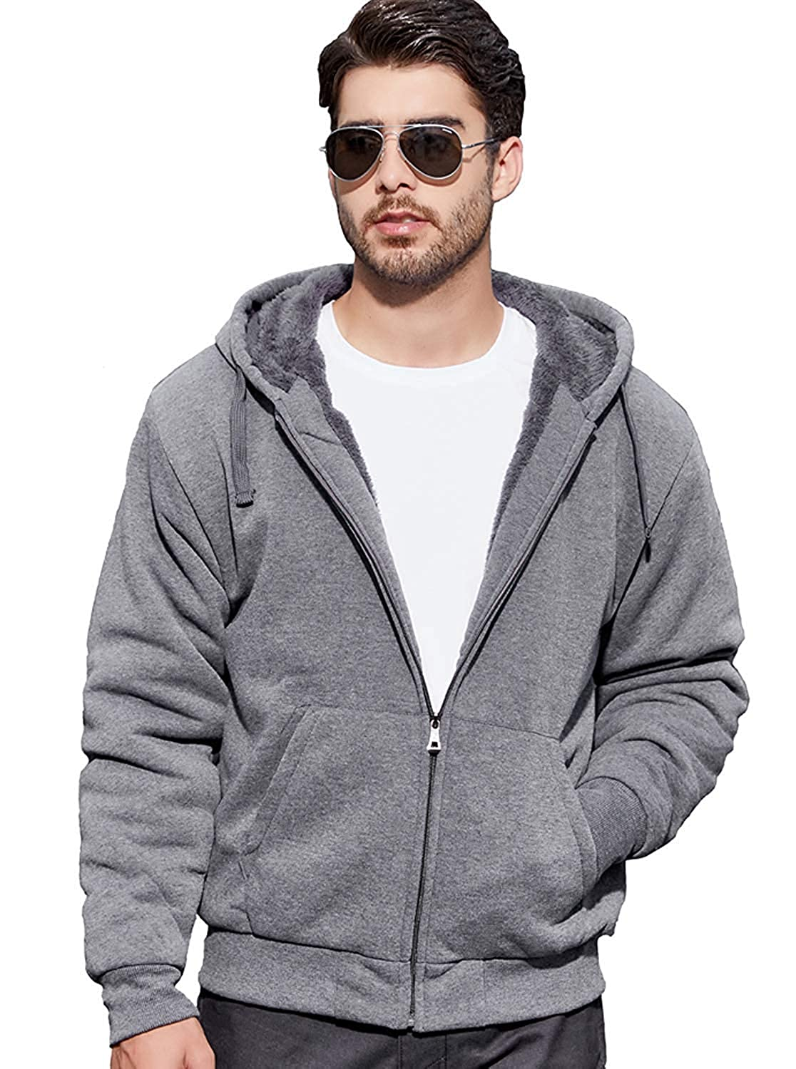 03d304e05b3b GEEK LIGHTING Men s Zip Up Fleece Hoodies Winter Heavyweight Sherpa Lined  Thermal Jackets at Amazon Men s Clothing store