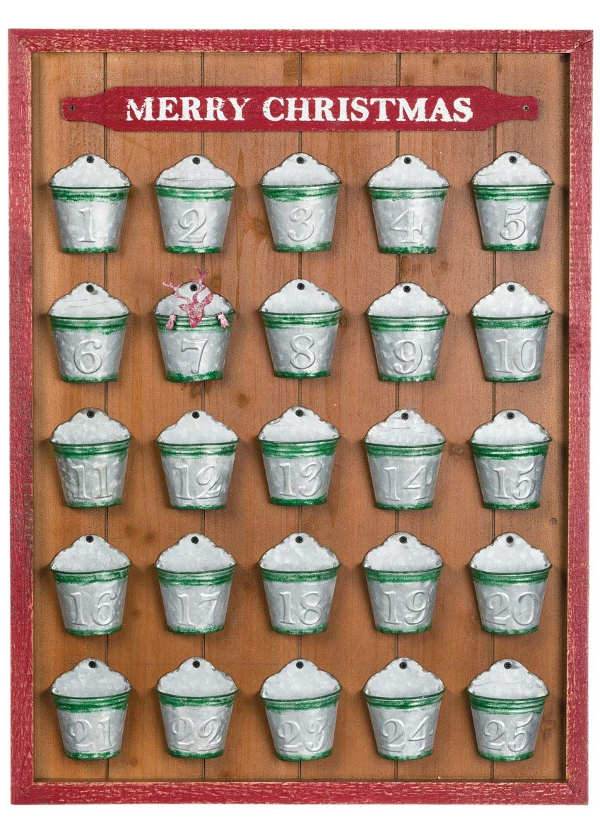Sullivans Merry Christmas Natural Brown 32 x 24 Wood and Metal Holiday Decor Advent Calendar