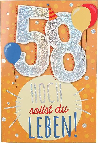 Depesche 5698 075 Carte D Anniversaire 58 Ans Multicolore Amazon Fr Jeux Et Jouets
