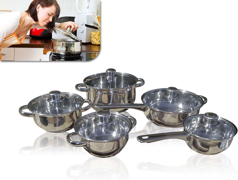 Set 10 ollas sartenes y cazuelas de acero inox con tapa 587602