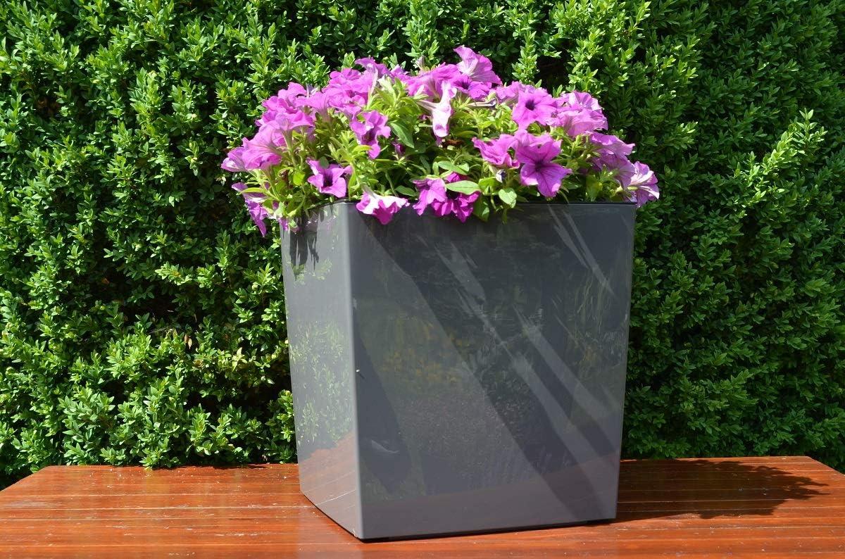 40 x 40 x 41 cm Grau mit Herausnehmbaren Einsatz in cm MELTOM XXL Pflanzk/übel aus Kunststoff in Hochglanz Farbe