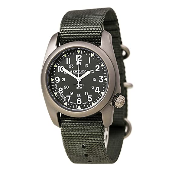 6c2a4a09840 Bertucci A-2T Vintage Marine Green Titanium Watch with Olive Drab Nylon  Strap 12030  Amazon.ca  Watches