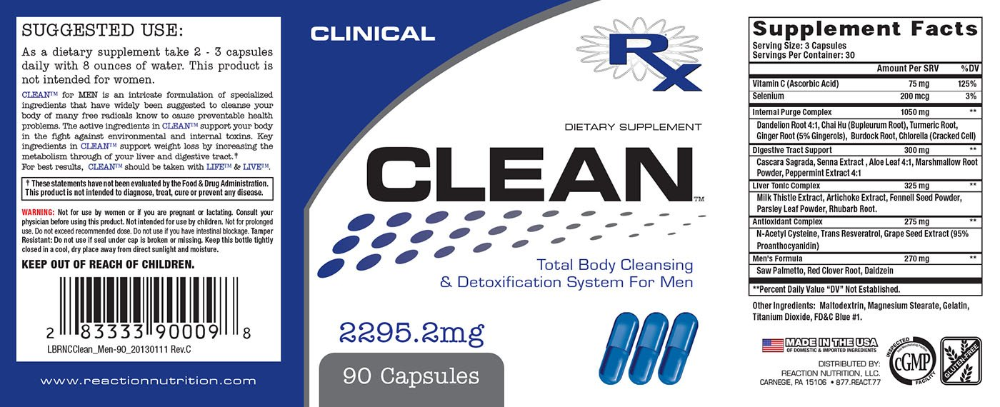 CLEAN™ FOR MEN - Detoxes Liver and Supports Detoxifier and Regenerator for MEN Weight Loss Body Cleanse