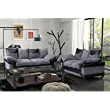 Dino Jumbo Cord Fabric & Faux Leather Panel 3 Seater and 2 Seater Set Corner Sofa Footstool (Black & Grey, 3 seater & 2 Seater Set)