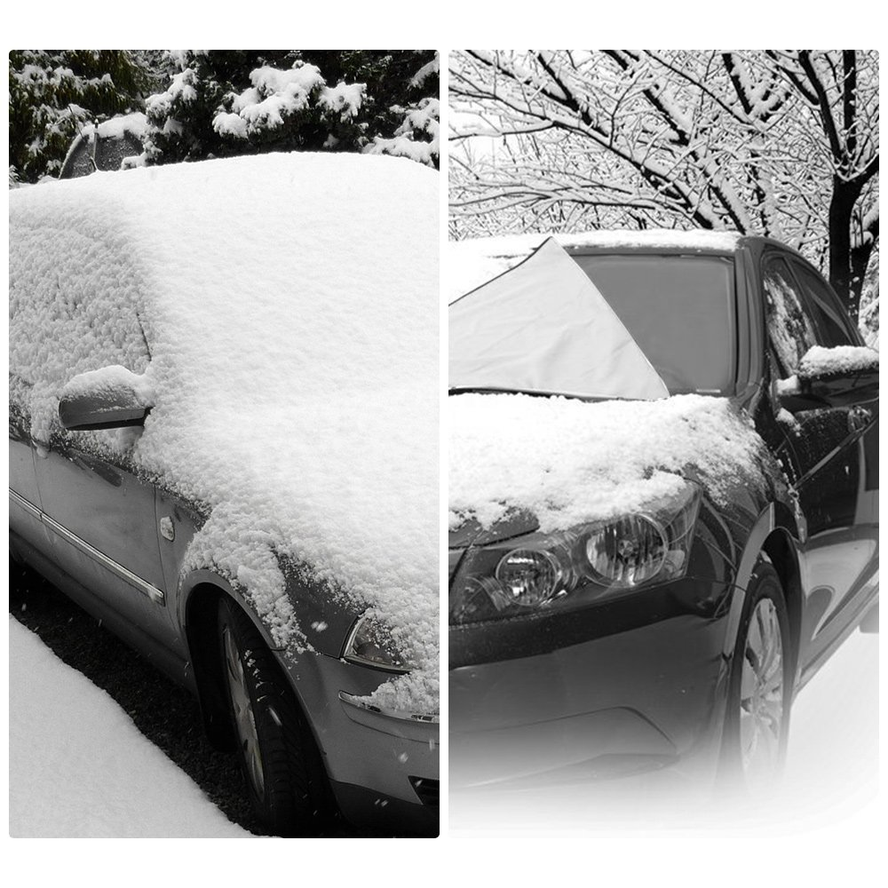 Windshield Snow Cover Ice Frost Rain Resistant No Scratch Snow Cover 62x56 with Extra Long Hood Skirt and Front Exterior Covers Fits for Cars