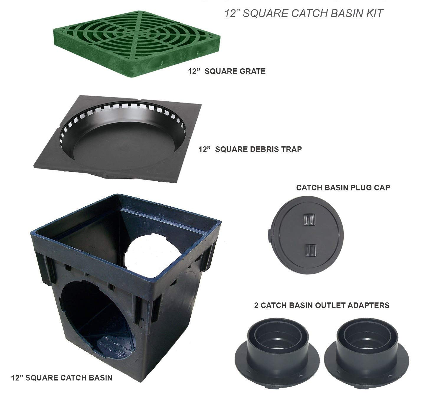 Seleq Plastic Square Drain Catch Box 12'' with Green Grate