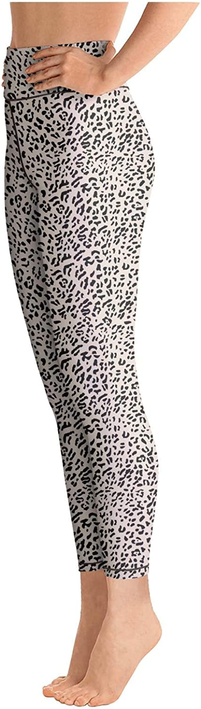 Websi Wihey Yoga Leggings for Womens Leopard Cheetah Print Black Creamy White High Waist Sports Yoga Pants