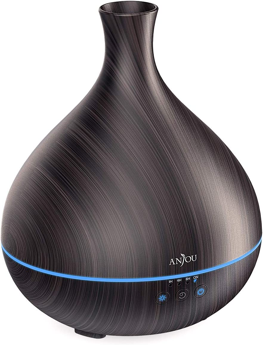 Essential Oil Diffuser, Anjou 500ml BPA Free Cool Mist Humidifier Wood Grain Aromatherapy Diffuser with 7 Color Changing Night for 12hrs of Continuous Quiet Diffuser Aroma (Brown): Home & Kitchen